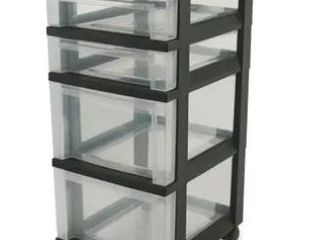IRIS USA Wide Storage 4 Drawer Cart  Black 24  Tall