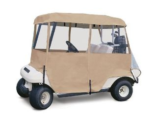 Classic Accessories Fairway Deluxe 4 Sided 2 Person Golf Cart Enclosure  Tan