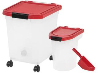 IRIS 3 Piece Airtight Pet Food Storage Combo  Garnet Red