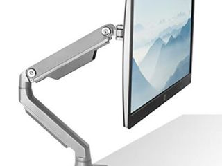 Mount It  Single Monitor Arm Desk Mount  Height Adjustable VESA Monitor Stand for Computer Screens 19 32    Silver