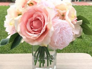 Enova Home Pink Peony Rose and Hydrangea Mixed Faux Flower Arrangement With Clear Glass Vase