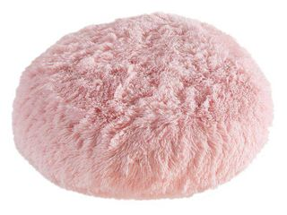 Polar Pouf   Round   light Pink  Faux Fur Floor Pouf with Poly Fill