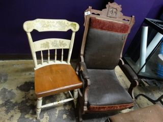 Vintage Wood Glider and Wood Dining Chair