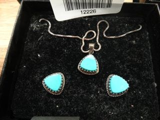 Pair of light Blue Triangular Earrings with Matching Necklace