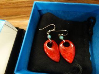 Unique Shape Red Earrings