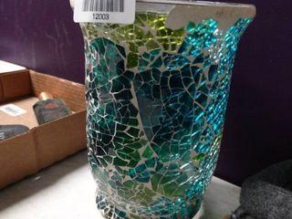 Glass Mosaic Hurricane Vase