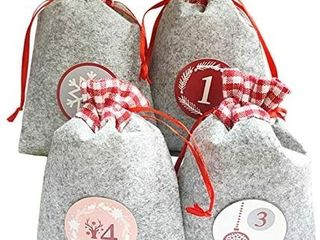 Christmas Advent Calendar Bags  24 Days Felt Xmas Countdown Calendar Burlap Bags Set Include Wooden Clips  sticker Numbers label  Rope for Holiday Xmas Home Office Party Decorations