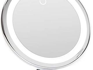 10X Magnifying Makeup Mirror with True Natural light and locking Suction   8 inch large lighted Travel Vanity Mirror  Dimmable Daylight lEDs  Battery and USB Operated