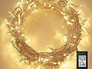 200 lED Indoor String light with Remote and Timer on Clear String  8 Modes  Dimmable  low Voltage Plug  Warm White