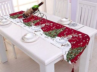 Starsea Christmas Table Runner Decor Elk Snowman Embroidered Printing Cotton and linen for Navidad Decorations 15 x 70 Inch   Snowman