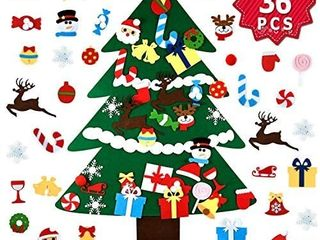 Wizdar DIY Felt Christmas Tree with 36pcs Detachable Ornaments 3 3FT 3D Kids Christmas Tree Set  Xmas Gifts for Toddlers Kids New Year Christmas Door Wall Hanging Decorations