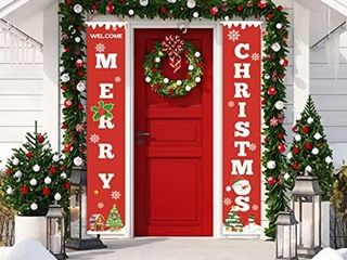 Merry Christmas Banners New Year Outdoor Indoor Christmas Decorations Welcome Bright Red Xmas Porch Sign Hanging for Home Wall Door Holiday Party Decor  Red Christmas Banner plus clings for windows