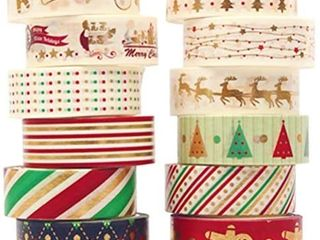 Christmas Washi Tape Pack   Japanese Washi Masking Tape with Foil   6 Rolls Aesthetic Craft Tape  Great for DIY  Bullet Journal  Calendar  Gift Wrapping  Scrapbooking  Christmas  see pics for designs