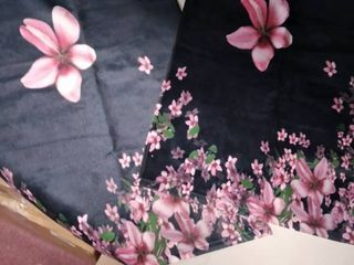 Placemat   Small End Table cover set of 2 Black with pink flowers