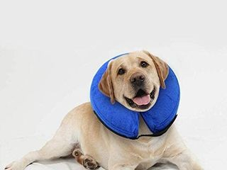 E KOMG Dog Cone After Surgery  Protective Inflatable Collar  Blow Up Dog Collar  Pet Recovery Collar for Dogs and Cats Soft Size M