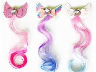 Sunormi Princess Kids Hair Clips In 15 inch Hair Extensions Kids Girls Ponytails Hair Bows Pins Festival Halloween Hair Weave  Rainbow 4 clips   see pics for design Unicorns