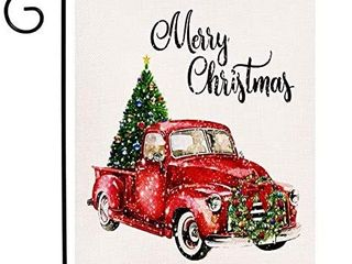 Merry Christmas Garden Flag Vertical Double Sided Tree Red Truck   see pictures for design