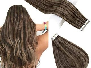 RUNATURE Tape in Hair 12 Inches Color 2P8A Brown Highlighted Tape in Extensions 80g Real Hair Extensions Tape in Human Hair