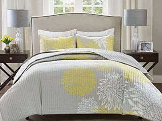 Comfort Spaces a Enya Comforter Set   5 Piece a Yellow  Grey a Floral Printed aQueen