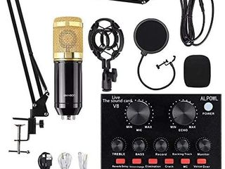 Condenser Microphone Bundle  AlPOWl BM 800 Condenser Microphone Kit with live Sound Card  Adjustable Mic Stand  Metal Shock Mount and Double layer Pop Filter for Studio Recording   Broadcasting  Gold