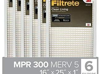 Filtrete 16x25x1  AC Furnace Air Filter  MPR 300  Clean living Basic Dust  6 Pack  exact dimensions 15 69 x 24 69 x 0 81