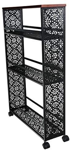 boeray 3 Tier Slim Rolling Storage Cart Metal Mobile Shelving Unit Slide Out Storage Tower with lockable Wheel for Kitchen Bathroom laundry Room Drawing Room Narrow Places Black  missing one screw for top