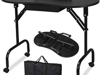 37 inch Portable   Foldable Manicure Table Nail Desk Workstation with large Drawer Client Wrist Pad Controllable Wheels Carrying Case for Spa Beauty Salon Black