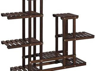 Plant Stand  Indoor Plant Shelf  Multi Tier Wood Flower Stand  Holds 13 Flower Pots  for living Room  Balcony  Rustic Dark Brown