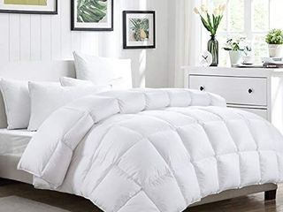 HOMBYS All Season Goose Down Comforter Queen Size 90x90 Duvet Insert Feather and White Down Comforter 100  Cotton Cover Hypoallergenic Down Proof with Corner Tabs  Queen  Medium Weight White