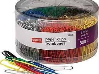 Jumbo Vinyl Coated Paper Clips  Smooth  500 Tub