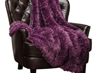 Chanasya Super Soft Shaggy longfur Throw Blanket Snuggly Fuzzy Faux Fur lightweight Warm Elegant Cozy Plush Sherpa Microfiber Blanket For Couch Bed Chair Photo Props   60  x 70  Aubergine Purple