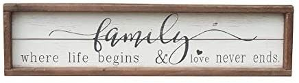 Wood Framed Wall Sign Family Decor with Quotes   Family Where life Begins   love Never Ends Farmhouse Wooden Wall Art Sign Plaque