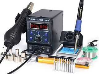 YIHUA 8786D I 2 in 1 Hot Air Rework and Soldering Iron Station with AF  AC  Cool Hot Air Conversion  Digital Temperature Correction and Sleep Function