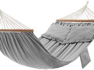 SONGMICS Hammock  Double Hammock with 2 Pillows  Wooden Bars  82 7 x 59 1 Inches  load Capacity 660 lb  Gray UGDC022G01