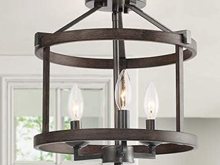 lNC A03411 Farmhouse Faux Wood Semi Flush Mount Ceiling light Fixture for Bedroom Hallway  Foyer  Entryway  Kitchen  Stairway  Dining   living Room