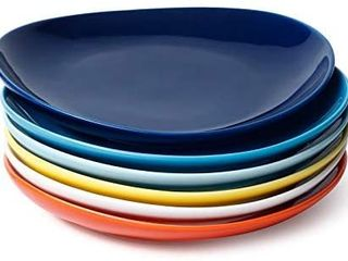 Sweese 151 002 Porcelain Dessert Salad Plates   7 8 Inch   Set of 6  Multicolor  Hot Assorted Colors