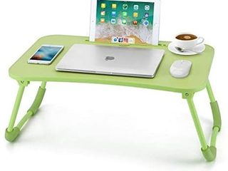 Nnewvante lap Desk Bed Table Tray for Eating Writing Foldable Desk with iPad Slots for Adults Students Kids  Green