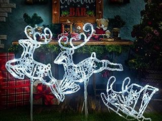 light Up Christmas Double Reindeer and Sleigh lawn Ornament  Waterproof lED lights Indoor Outdoor  Yard  Christmas Holiday lawn Decorations  White