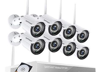 1080P Wireless Security Camera System with 1TB Hard Drive SAFEVANT 8 Channel Outdoor Indoor Wireless NVR Systems 8PCS 2MP Home Surveillance IP Cameras Night Vision Motion Detection