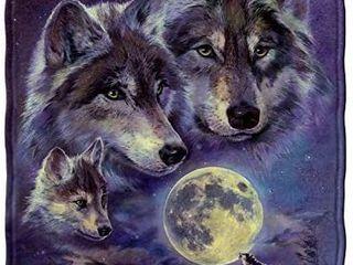Dawhud Direct Wolf Moon Call Super Soft Full Queen Size Plush Fleece Blanket  75  x 90