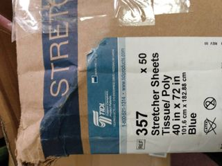 Avalon Papers 357 Stretcher Sheet  Tissue Poly  40  x 72  Blue  Pack of 50