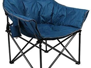 AlPHA CAMP Oversized Camping Chairs Padded Moon Round Chair Saucer Recliner Supports 400 lbs with Folding Cup Holder and Carry Bag