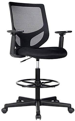 rafting Chair Tall Office Chair for Standing Desk Drafting Mesh Table Chair with Adjustable Armrest and Foot Ring