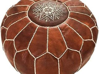 Marrakesh Gallery Moroccan Pouf Cover  Genuine Goatskin leather   Bohemian living Room Decor   Cover ONlY   Stuffing is NOT Included