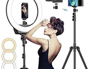 FI 16  Selfie Ring light with 3 Color Modes 79a Extendable Tripod Stand Phone Camera Holder  320 Bulbs 6500K 10 Brightness Dimmable lED