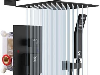 SR SUN RISE Matte Black Shower System 10 Inches Brass Bathroom luxury Rain Mixer Shower Combo Set Wall Mounted Rainfall Shower Head System Shower Faucet Rough in Valve Body and Trim Included