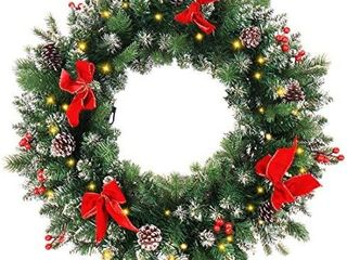 ANOTHERME 24 Inch Pre lit Christmas Wreath  Red and Gold Ball with Berries Pine Core  Artificial Door Wreath 50 Clear lED lights with Timer