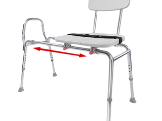 Sliding Bath Transfer Bench with Replaceable Cut Out Seat  77311    Regular  Base length  39    40    Heavy Duty Shower Bathtub Chair   Eagle Health Supplies