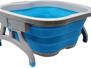 large Foot Soaking Tub  bucket for feet  foot bath  foot tub  for at Home Spa Pedicures  Plastic Rubber Foldable Bucket For Soaking Feet to Apply Callus Remover  or Use Pumice Stone  Blue