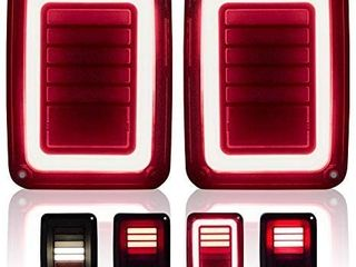 Upgraded lED Tail lights Smoked Compatible with 07 18 Jeep Wrangler JK Reverse light Turn Signal lamp Running lights